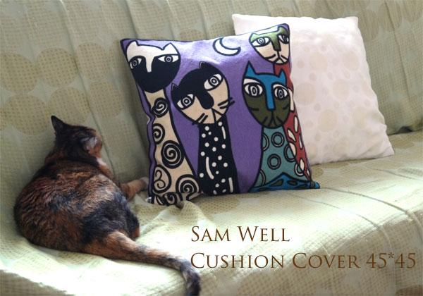 SAM WELL デザイン 刺繍クッションカバー45×45 ネコ